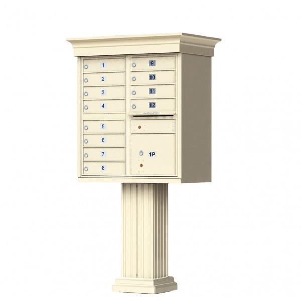 12 Tenant Door Classic Decorative CBU Mailbox (Pedestal Included) - Type 2 - 1570-12AF-DC