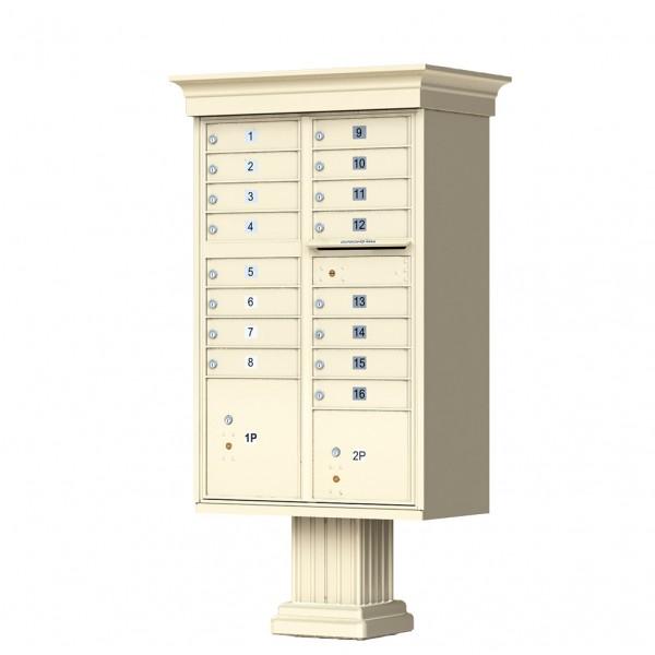 16 Tenant Door Classic Decorative CBU Mailbox (Pedestal Included) - Type 3 - 1570-16AF-DC