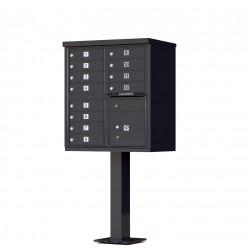 12 Door Black Florence Cluster Mailbox with Pedestal - 1570-12-BK