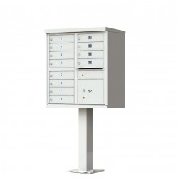 12 Door Gray Florence Cluster Mailbox with Pedestal - 1570-12-PG
