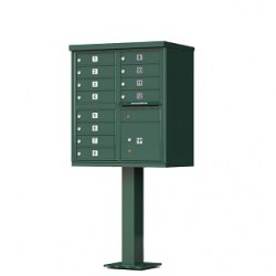 12 Door Green Florence Cluster Mailbox with Pedestal - 1570-12-FG