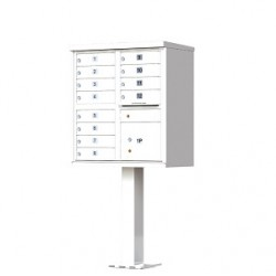 12 Door White Florence Cluster Mailbox - with Pedestal - 1570-12-WH
