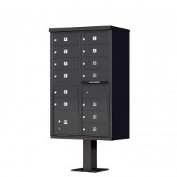 13 Door Black Florence Cluster Mailbox with Pedestal - 1570-13-BK