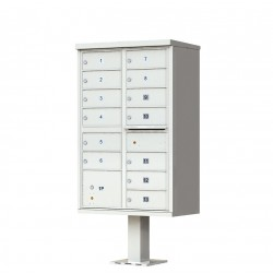 13 Door Gray Florence Cluster Mailbox with Pedestal - 1570-13-PG