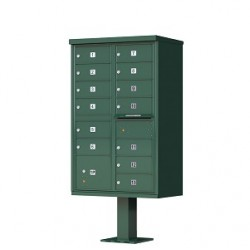 13 Door Green Florence Cluster Mailbox with Pedestal - 1570-13-FG