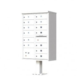 13 Door White Florence Cluster Mailbox - with Pedestal - 1570-13-WH