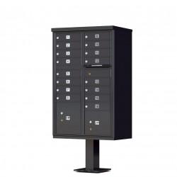 16 Door Black Florence Cluster Mailbox with Pedestal - 1570-16-BK