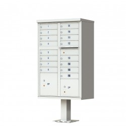 16 Door Gray Florence Cluster Mailbox with Pedestal - 1570-16-PG