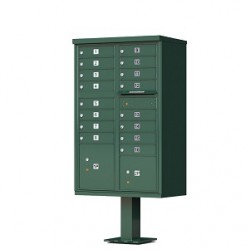 16 Door Green Florence Cluster Mailbox with Pedestal - 1570-16-FG