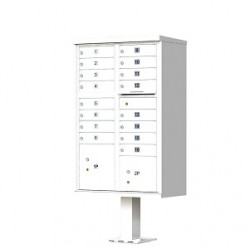 16 Door White Florence Cluster Mailbox - with Pedestal - 1570-16-WH