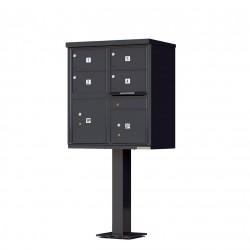 4 Door 2 Parcel Black Florence Cluster Mailbox - with Pedestal - 1570-4T5-BK