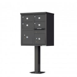 4 Door 2 Parcel Bronze Florence Cluster Mailbox - with Pedestal - 1570-4T5-DB