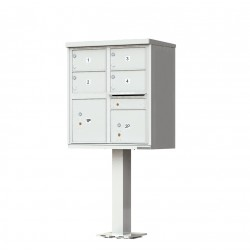 4 Door 2 Parcel Gray Florence Cluster Mailbox - with Pedestal - 1570-4T5-PG