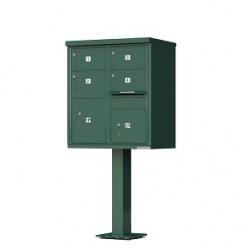 4 Door 2 Parcel Green Florence Cluster Mailbox - with Pedestal - 1570-4T5-FG