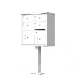 4 Door 2 Parcel White Florence Cluster Mailbox - with Pedestal - 1570-4T5-WH