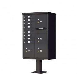 8 Door 4 Parcel Black Florence Cluster Mailbox - with Pedestal - 1570-8T6-BK