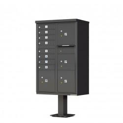 8 Door 4 Parcel Bronze Florence Cluster Mailbox - with Pedestal - 1570-8T6-DB