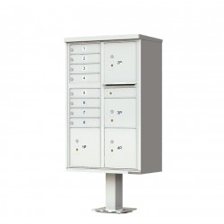 8 Door 4 Parcel Gray Florence Cluster Mailbox - with Pedestal - 1570-8T6-PG