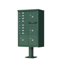 8 Door 4 Parcel Green Florence Cluster Mailbox - with Pedestal - 1570-8T6-FG