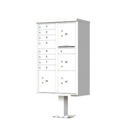 8 Door 4 Parcel White Florence Cluster Mailbox - with Pedestal - 1570-8T6-WH