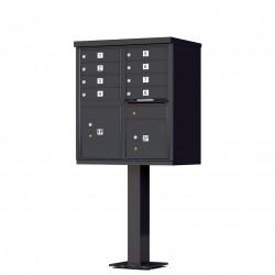 8 Door Black Florence Cluster Mailbox with Pedestal - 1570-8-BK