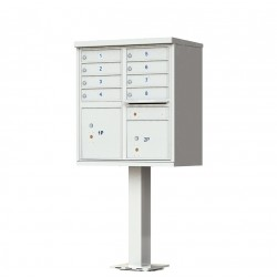 8 Door Gray Florence Cluster Mailbox with Pedestal - 1570-8-PG