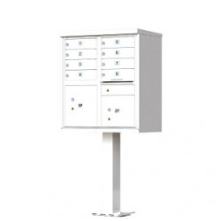 8 Door White Florence Cluster Mailbox with Pedestal - 1570-8-WH