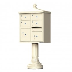 4 Large Tenant Door Traditional Decorative Style Mailbox (Pedestal Included) - Type 5 - 1570-4T5AF-DT