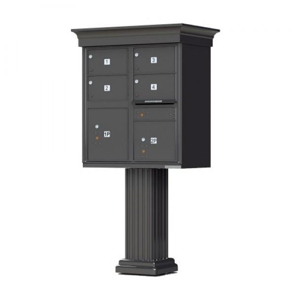 4 Large Tenant Door Decorative Classic CBU Mailbox (Pedestal Included) - Type 5 - 1570-4T5AF-DC