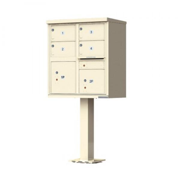 4 Tenant Door Standard Style CBU Mailbox (Pedestal Included) - Type 5 - 1570-4T5AF
