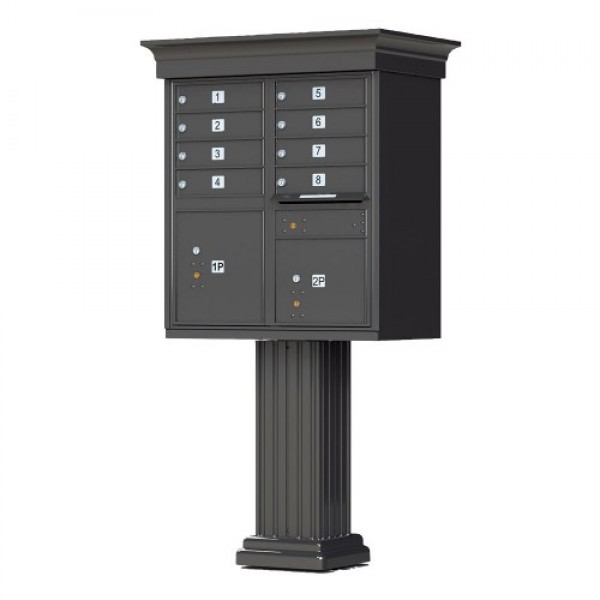 8 Tenant Door Classic Decorative CBU Mailbox (Pedestal Included) - Type 1 - 1570-8AF-DC