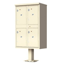 4-Door Pedestal Style High Security Outdoor Parcel Locker (Pedestal Included) - 1590-T2AF