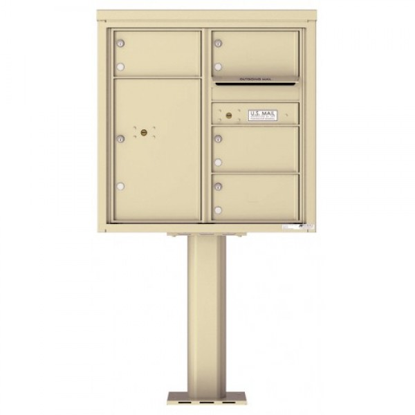 4 Over-sized Tenant Doors with 1 Parcel Door and Outgoing Mail Compartment (Pedestal Included) - 4C Pedestal Mount 8-High Mailboxes - 4C08D-04-P
