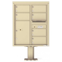 6 Over-sized Tenant Doors with 1 Parcel Door and Outgoing Mail Compartment (Pedestal Included) - 4C Pedestal Mount 10-High Mailboxes - 4C10D-06-P