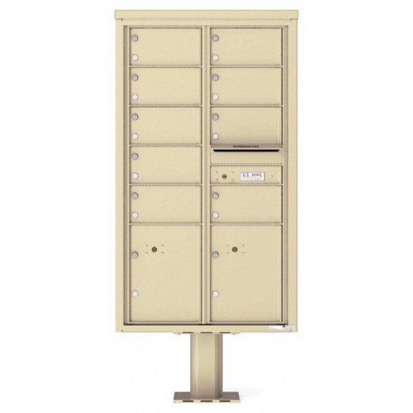 9 Over-sized Tenant Doors with 2 Parcel Doors and 1 Outgoing Mail Compartment (Pedestal Included) - 4C Pedestal Mount 15-High Mailboxes - 4C15D-09-P