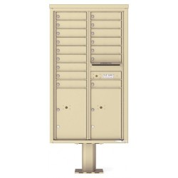16 Tenant Doors with 2 Parcel Doors and 1 Outgoing Mail Compartment (Pedestal Included) - 4C Pedestal Mount 15-High Mailboxes - 4C15D-16-P