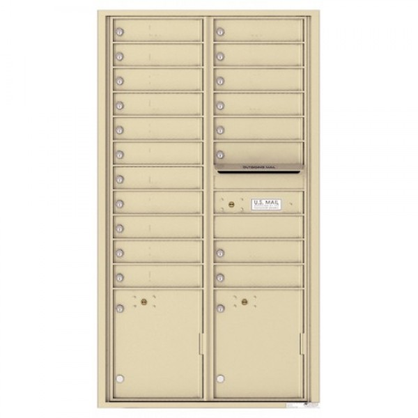 19 Tenant Doors with 2 Parcel Lockers and Outgoing Mail Compartment - 4C Wall Mount Max Height Mailboxes - 4C16D-19