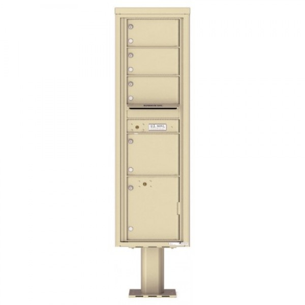 4 Over-sized Tenant Doors with 1 Parcel Door and Outgoing Mail Compartment (Pedestal Included) - 4C Pedestal Mount Max Height Mailboxes - 4C16S-04-P